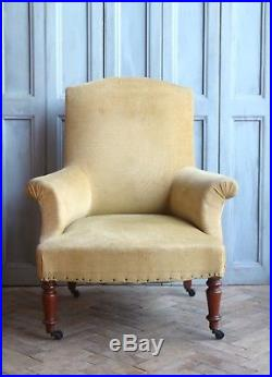 Vintage Antique French Yellow Napoleon III Arm Chair Victorian
