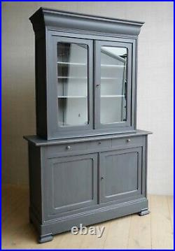 Vintage Antique Large French Grey Linen Press Cupboard Armoire Cabinet