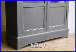 Vintage Antique Large French Painted Glazed Linen Press Cupboard Armoire Cabinet