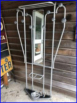 Vintage Art Deco French Aluminium Hall Stand Coat Hook And Hat Rack