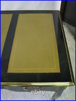 Vintage Drexel Heritage French Grand Palais Black Lacquer Desk Camel Leather