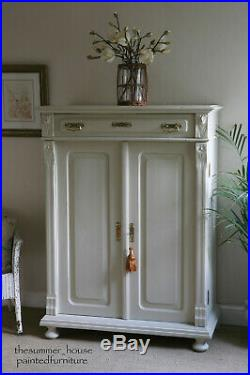 Vintage French Armoire, Larder, Linen Press or Hall Cupboard Painted in F&B