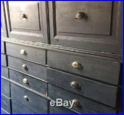 Vintage French Bank Of Drawers Shop Apothecary Cabinet Industrial