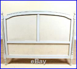 Vintage French Bed Frame Painted grey Upholstered Cushioned Bed Ends Rails