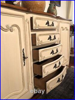 Vintage French Buffet Side Board Country Cabinet Painted In Antique White