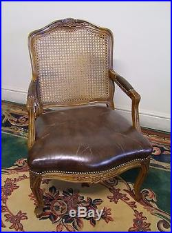 Vintage French Carved Oak, Bergere Canework & Leather Armchair (117137a)