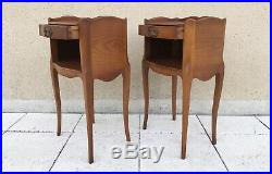 Vintage French Cherrywood Louis XV Style Cabinets Bedside Tables Nightstands