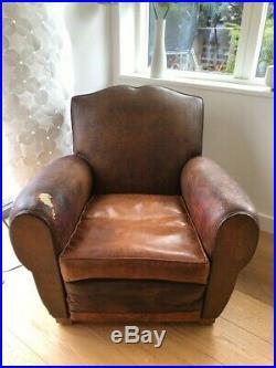 Vintage French Club Chair Leather Club Chair Art Deco Chair