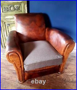 Vintage French Club chair- Leather- Art Deco- Original- Circa 1930s