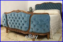 Vintage French Demi Corbeille Chesterfield Style Double Bed Frame