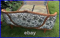 Vintage French Demi Corbeille Double Bed Base Frame Wooden Antique Style