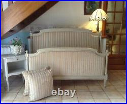 Vintage French Double Bed Frame Henri Style New Fabric With Cushions