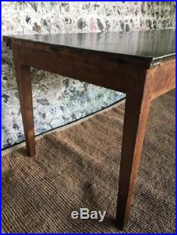 Vintage French Farmhouse Zinc Top Kitchen Dining Table C19 Industrial Desk