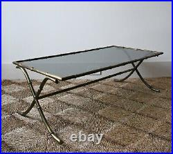 Vintage French Faux Bamboo Brass Glass Sofa Lamp Side Coffee Table Maison Bagues