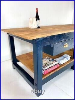 Vintage French Floristry Shop Counter Workbench Haberdashery Oak Kitchen Island