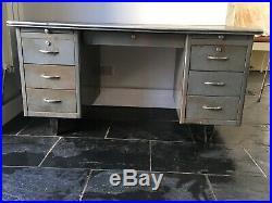 Vintage French Industrial Metal Desk