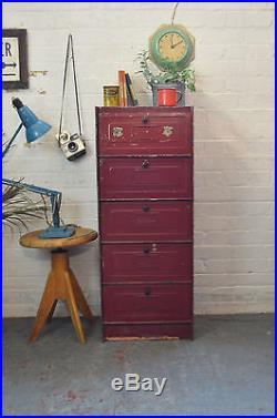 Vintage French Industrial Metal Filing Cabinet Kitchen Larder Locker