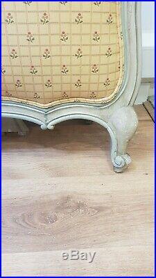 Vintage French Kingsize Louis XV Bed Original Fabric