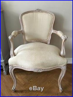 Vintage French Ladies Bedroom Armchair Louis XV Style Carved Frame Rococo Cream