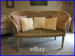 Vintage French Louis XVI Regency style Bergere Rattan Conservatory Sofa