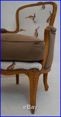Vintage French Louis XV Bergere Armchair in Peony & Sage'French Hares