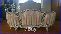 Vintage French Louis XV Demi Corbeille Upholstered Double Bed