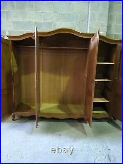 Vintage French Louis XV carved oak 4 door armoire w shelves, wardrobe, flat pack
