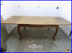 Vintage, French, Louis, walnut, parquet, extending, dining table, cabriole legs, seat 12