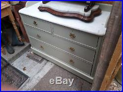 Vintage French Marble Topped Chest Of Drawers