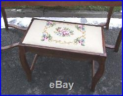 Vintage French Marble Topped Ladies Dressing Table & Stool (con185)