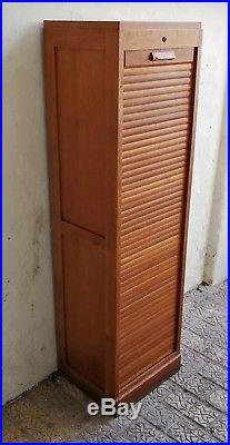 Vintage French Mid Century Tambour Front Cabinet Filing Cabinet