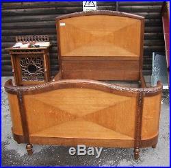 Vintage French Oak Art Deco Demi Corbeille King Size Bed Frame (CON823)