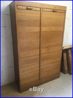 Vintage French Oak Haberdashery Cabinet With Tambour Doors