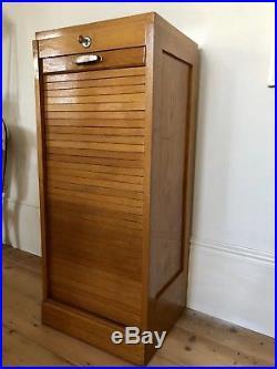 Vintage French Oak Tambour Front Filing Cabinet Original Key 1950s