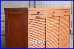 Vintage French Oak Triple Tambour Filing Cabinet Mid Century