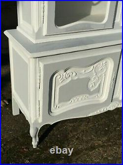 Vintage French Painted Pine Glass Display Linen Cupboard Armoire Cabinet