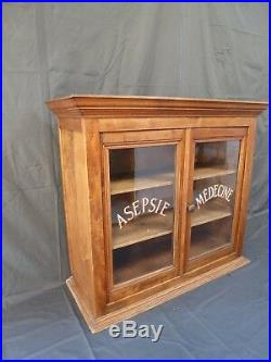 Vintage French Pharmacy Wooden Medicine Cabinet
