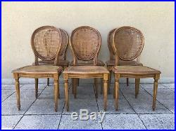 Vintage French Set Of 6 Bergère Cane Dining Chairs Médaillon Louis XV Style