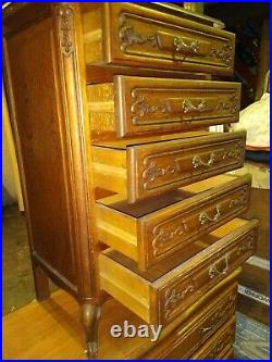 Vintage French prettily carved oak Louis XV, narrow 5 door chest of drawers