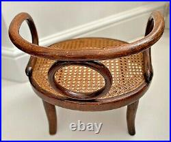 Vintage French small/miniature caned bent wood style chair with label'Tonnerre