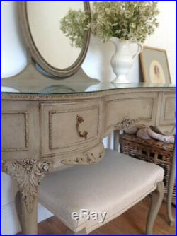 Vintage French style dressing table with stool