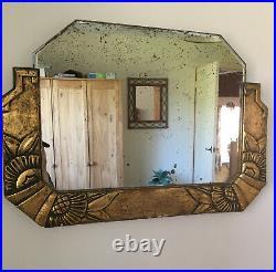 Vintage Genuine French Art Deco Ornate Gilt Plaster & wood Mirror