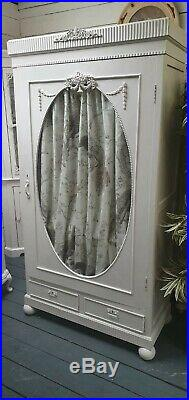 Vintage Painted French Style Glass Front Wardrobe/Linen Cupboard Shabby Chic