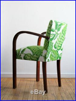 Vintage Pair French Deco Armchairs Reupholstered Sanderson Fitzroy Bloomsbury