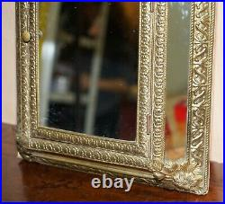 Vintage Repousse Brass Cushion Edge Mirror French Wall Mounted For Hanging Keys