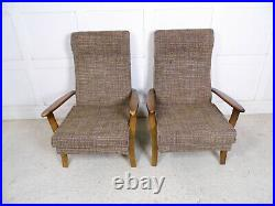 Vintage Retro Midcentury French Armchairs 50s 60s 70s style low lounge chair
