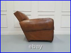 Vintage Retro Moustache Back French Leather Club Chair