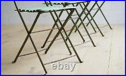 Vintage Set of Four French Slatted Wooden Folding Festival Chairs Garden