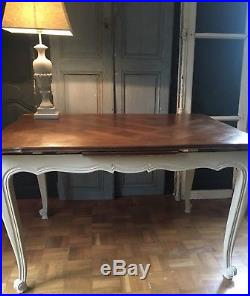 Vintage french extendable parquet table in Louis XV style