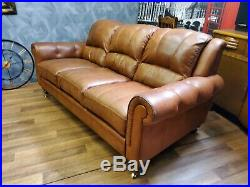 Vintage tan French Art Deco club antique Leather Sofa 3 seater